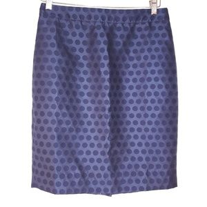 J crew the pencil skirt blue polka dot size 2